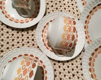 Vintage Pontesa Tea Cup Trios |Spanish Pontesa China | Tea Cup, Saucer and Plate | Retro Spain |