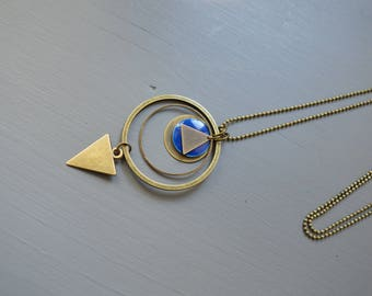 long Navy Blue and bronze brass triangles and rings - geometric