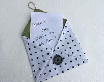 Envelope in fabric with polka dots