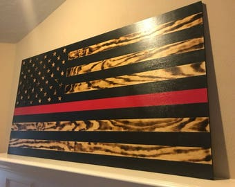 Thin Red Line Flag, American Flag, Wood Flag, Firefighter Flag, Fire Department
