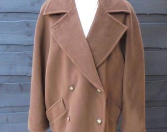 Vintage Max Mara Wool Brown Coat Fits size 12-14 SIZE L /Oversized Vintage Coat/High Couture Coat/90's coat/Under Hips Coat/Alta costura
