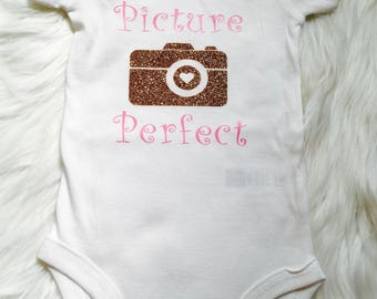 Picture Perfect Baby Gold and Pink Glitter Onesie
