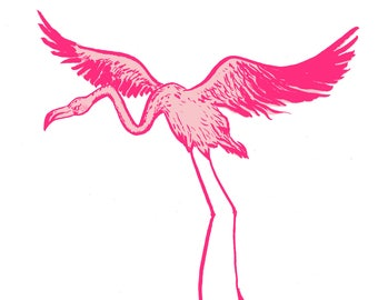 vanity flamingo, a5 print, funny animal illustration, silly bird,