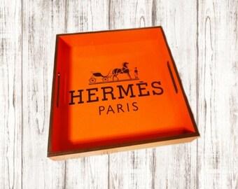 Hermes Inspired Designer Tray. Designer Decor. Home Decor.