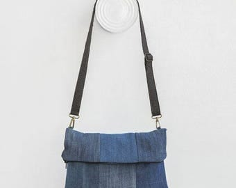 flap texan bag  denim blue with piñatex handle