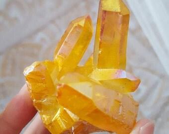 Yellow Sunny Angel Aura Quartz Crystal Cluster