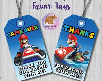 Mario Kart Party Favor, Mario Kart Party Favor, Mario Kart Party Decoration, Mario Kart Favor Tags, Mario Kart Party Tags, Mario Kart Tags
