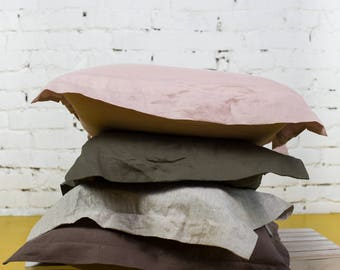 Linen pillowcase, white pillowcase, soft pillowcase, handmade linen white, blue pillowcase, white linen sheet, grey pillowcase/LH0005