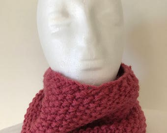 Handknitted Woman's Pink Pure Wool Neckwarmer Cowl