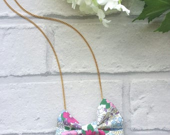 Bow Necklace - Floral Bow - Bow Tie Necklace - Women's Bow Tie - Bow Tie with Chain - Bow Tie Jewellery - Wedding - Prom