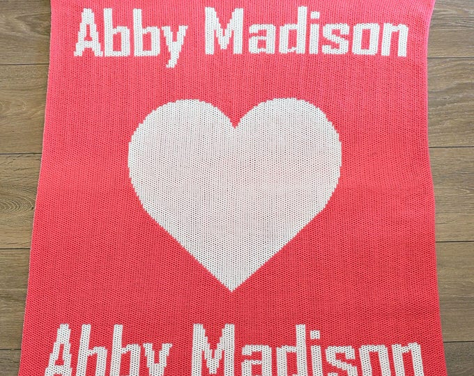 Heart with Two Names Custom Knit Baby & Stroller Blanket
