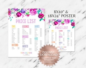 Instant Customizable Floral Fashion Consultant and LLR Price Sign & Price Poster TEMPLATES