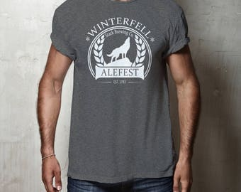 SALE* Winterfell ALEFEST Tee Game of Thrones Funny t-shirt Beer Shirt, Christmas Gift Winter is Here Coming House Stark Direwolf Clothing