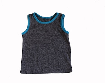 Kid's Tank Top, Summer Tank, Toddler Tank, UV Protection, Boys Tank, Blue and Gray Tank Top, Summer Toddler Clothing