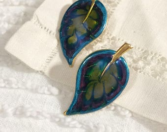 Vintage Goldtone and Swirled Purple/Blue and Green Enamel Leaves Post Earrings