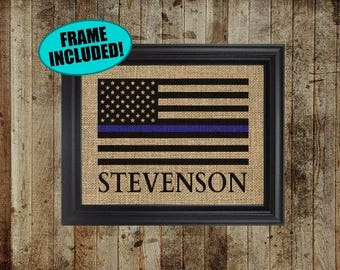 Framed Burlap Print - Police Officer Gifts - Police Officer Decor - Thin Blue Line Flag - Blue Line Flag - Gift For Police Officer - Burlap