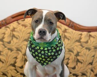 GET LUCKY St. Patrick's Day Watercolor Clover Dark Green - reversible pet bandana - dog bandana - cat bandana - unique pet accessory