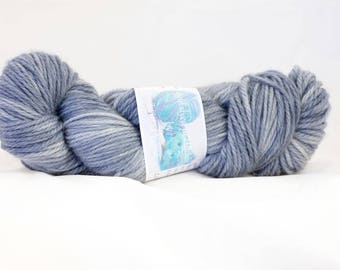 Stormy Night hand dyed SW merino/cashmere/nylon Aran yarn