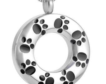Round Paw Print Pet Cremation Pendant-Cremation Jewelry, Urn Necklace, Memorial Jewelry, Necklace for Ashes, Keepsake Jewelry