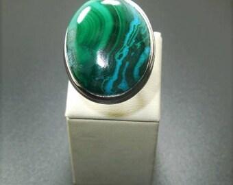 Natural Chrysocolla Malachite 925 Sterling silver Ring