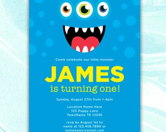 Monster Invitation, Kids Birthday Invitation, Birthday Invitation Template, Monster Invite, Monster Printable Invite, Kids Invite, DIGITAL