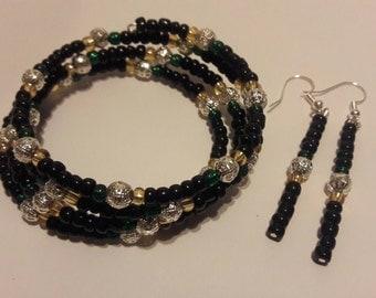 Jamaica memory wire bracelet, memory wire bracelet, bracelet, beads bracelet.
