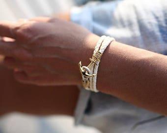 Ivory Leather Anchor Bracelet,womens bracelet,anchor bracelet woman,anchor charm,girlfriend bracelet,girlfriend jewelry,nautical bracelet