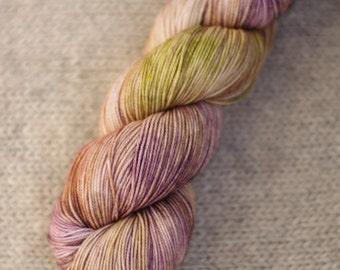 Hand dyed superwash merino wool sock yarn, 80/20 merino nylon sock yarn, kettle dyed, indie dyed yarn, purple yarn, variegated yarn