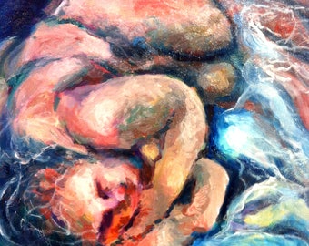 oil paintings on linen-sleeping child-contemporary Dutch art-30 x 40 cm-Included list-Worldwide free shipping
