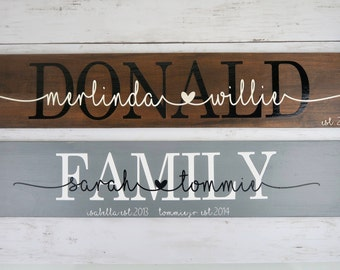Personalized Wood Sign w/ Couple's Names | Mommy/Daddy & Kids | Wedding Gift | Family/Last Name | Children | Anniversary