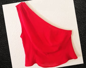 Bright Red Shirting One Shoulder Top. Size L