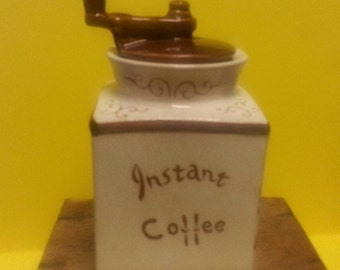 Vintage China Coffee Grinder Canister / Retro Made in Japan China Coffee Canister