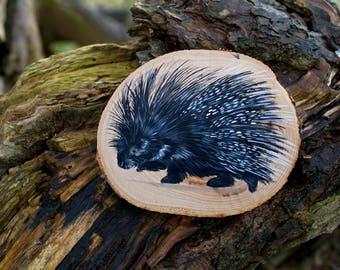 Porcupine painting, original wildlife art, painted wood slice, painting on wood , miniature art, wood slice art, rodents