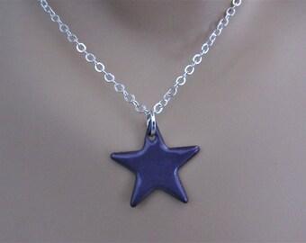 Iris Purple Star Enamel Sterling Silver Necklace
