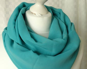 Turquoise infinity scarf, Circle scarf, Turquoise scarf, Chiffon scarf, Scarf for her, Lightweight scarf, Fashion scarf