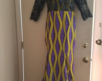 Yellow and purple maxi dress with black lace design