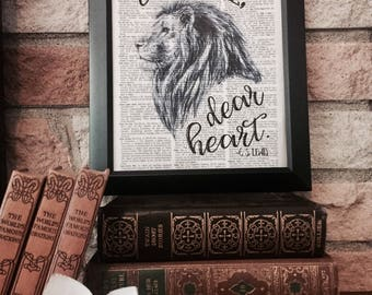 Courage Dear Heart Dictionary Page Print - C. S. Lewis Narnia Aslan Quote - Voyage of the Dawn Treader - Vintage Framed Wall Art - Lion