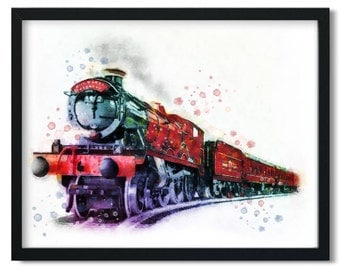 Hogwarts Express Harry Potter watercolor printable, Harry Potter Printable Wall Art, Hogwarts Express Harry Potter poster