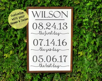 Personalized Wedding, The First Day The Yes Day The Best Day, Important Dates Sign, Wedding Gift, Anniversary SweetPineDesign Special Dates