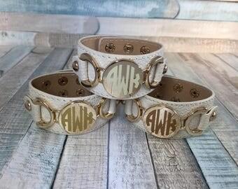 Monogram Leather Cuff, Monogram Bracelet, Cream Leather Cuff, Off White Leather Cuff, Ivory Leather Cuff, Monogram Gift, Valentines Gift