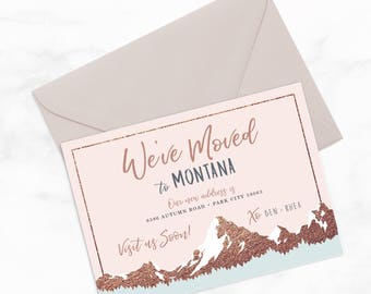 "We've Moved to the Mountains by Arbor Grace Collections, 5"" x 7"" PRINTABLE Mailer"