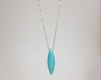 Turquoise Howlite Necklace, 14K Gold Chain Necklace, Turquoise Necklace