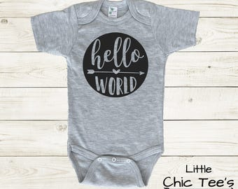 Hello World Onesie, Baby Girl Clothes, Baby Boy Clothes, Hello World bodysuit, Hello World Baby Shirt, Hello World Baby Boy Outfit