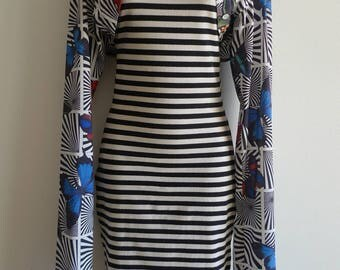Richmond-Cornejo 3D 80s striped body hugging dress with attached bolero top