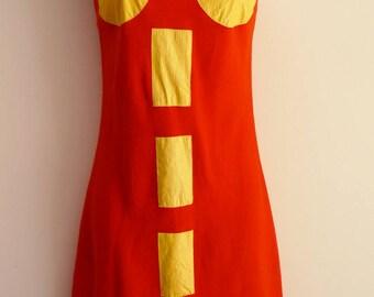 agnès b lolita vermilion cotton sundress with yellow synthetic details