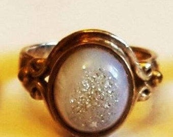 Sajen 925 Sterling Silver Statement Ring Large Druze druzy ring size 6 3/4US