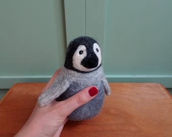 baby toy Penguin baby needle felted Baby soft toy felted animals arctic animals eco friendly baby toy cute