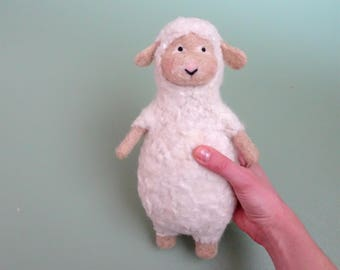 sheep, needle felted animal, felt animals, plushie, toys, baby soft toy, unique baby toys, baby shower gift, stuffed animals, natural toys