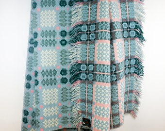 Derw Blue & Pink Welsh Tapestry Blanket