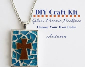 Cross Jewelry Making Kit, Mosaic Glass Jewelry Activity, Silver Rectangle Bezel, Choose Your Own Autumn Color, includes wooden cross